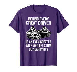 Funny Husband Driver Great Wife Racing Car Parts Tee Shirts