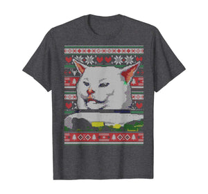 Woman Yelling at a Cat Ugly Christmas Sweater Meme Couples 2 T-Shirt