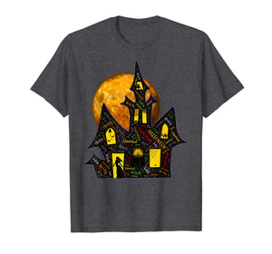 Creepy Haunted Mansion Full Moon Halloween Words T-Shirt
