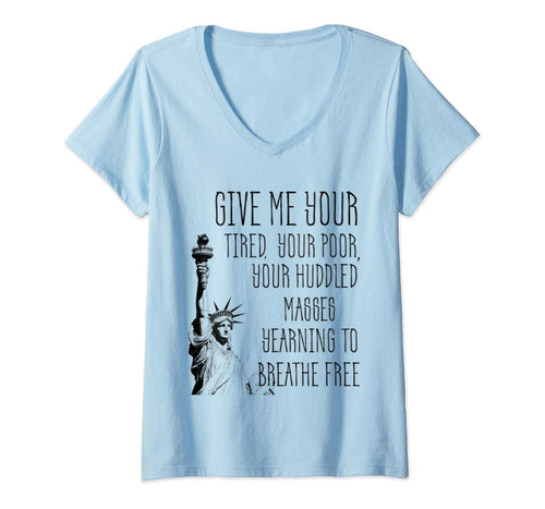 Womens USA Statue of Liberty New Colossus Emma Lazarus Quote V-Neck T-Shirt