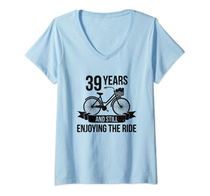 Womens 39th Wedding Anniversary Gift For Husband Wife Bicycle Quote V-Neck T-Shirt