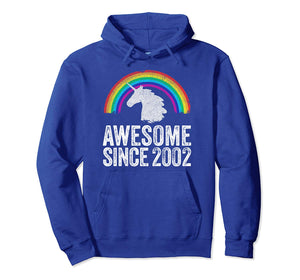 2002 17th Birthday Gift Unicorn Rainbow 17 Years Old Girl Pullover Hoodie