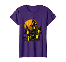 Cargar imagen en el visor de la galería, Creepy Haunted Mansion Full Moon Halloween Words T-Shirt