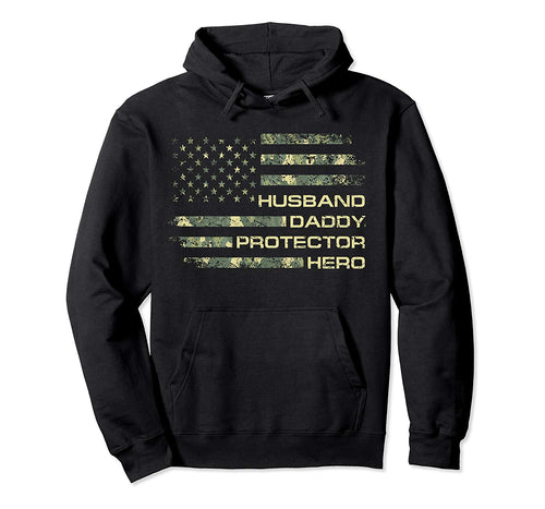 Husband Daddy Protector Hero Camouflage Flag Gift Hoodie