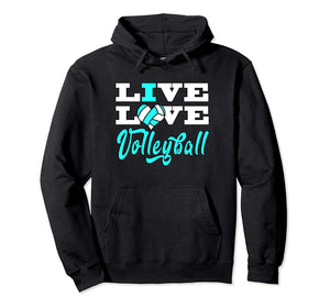 Volleyball Hoodie Live Love Light Blue For Girls Teens