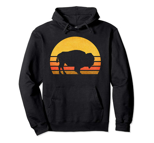 Retro Eighties Bison Hoodie, Vintage American Buffalo Gift