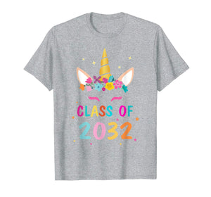 Kid Unicorn First Day Of School Class Of 2032 Grow With Me  T-Shirt