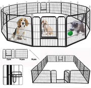 SUNCOO Dog Pen, 8/16 Panels 24/32/40 in Heavy Duty Folding Large Metal Dog Fence, Cat Puppy Pet Exercise Playpen