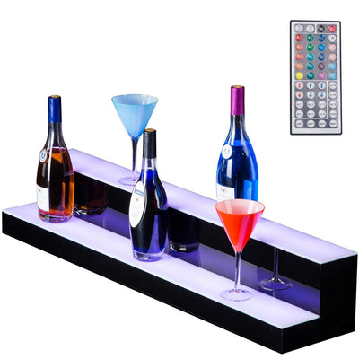 Nurxiovo 30 Inch 2 Step LED Liquor Bottle Display Shelf RGBW Illuminated Bottle Shelf sale