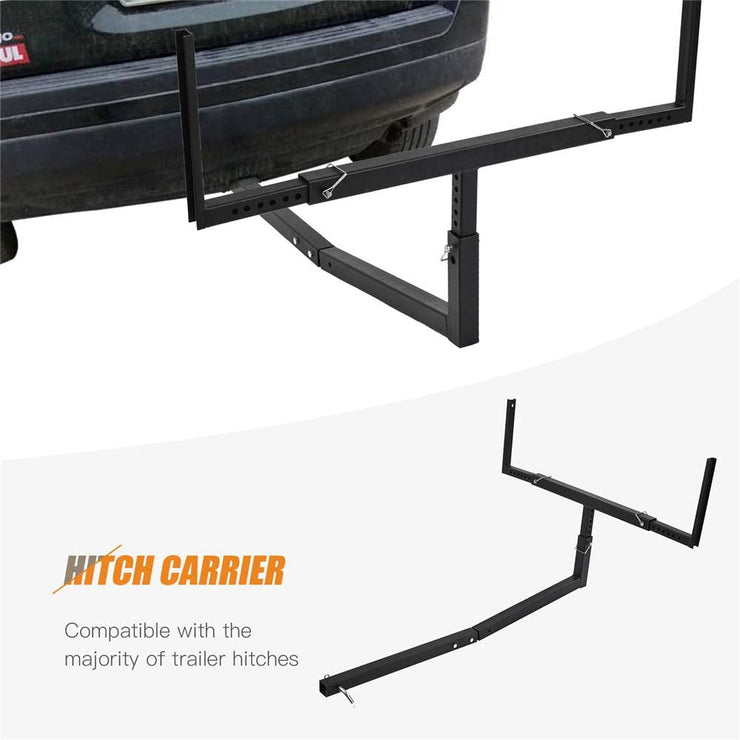 SUNCOO Pick Up Truck Bed Hitch Extender Adjustable Steel Extension Rack with Flag for Boat Lumber Long Loads Ladder Rack