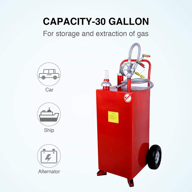 30 Gallon Gas Caddy with Pump, Heavy Duty Portable Fuel Tank with Wheels