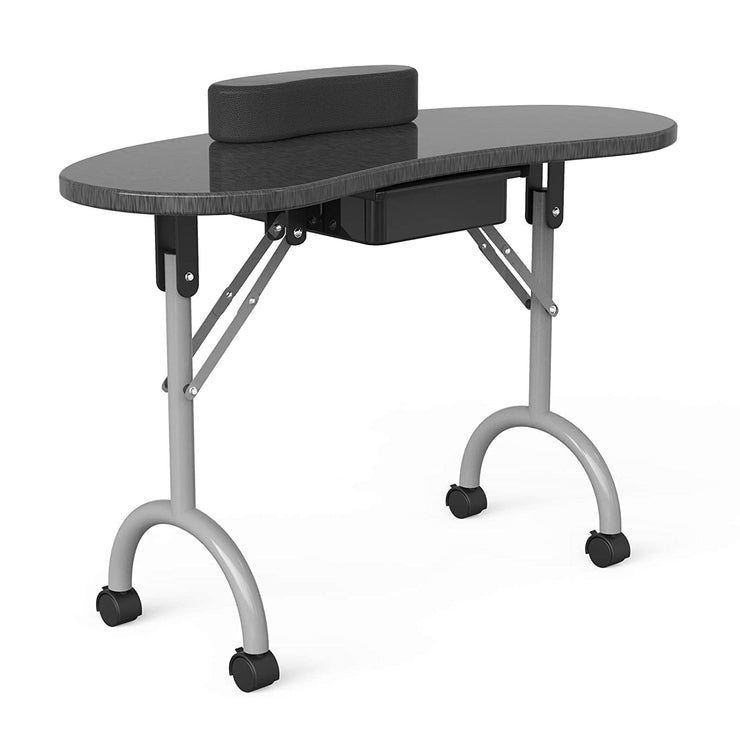 "Manicure Nail Table- SUNCOO Portable Folding Station Desk,4 Lockable Wheels, Carry Bag 35.4""15.7""26.8"""