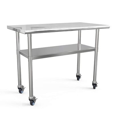 48x24 Inches Commercial Work Table,4 Caster Wheels with Stainless Steel Prep Table