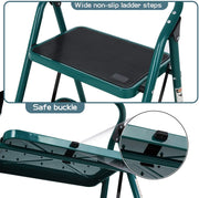 3 Step Ladder, Folding Step Stool with Wide Anti-Slip Pedal, 330lbs Load Sturdy Steel Ladders