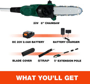 SUNCOO 20V Cordless Pole Saw, 10-Inch Electric Chainsaw Battery Powered