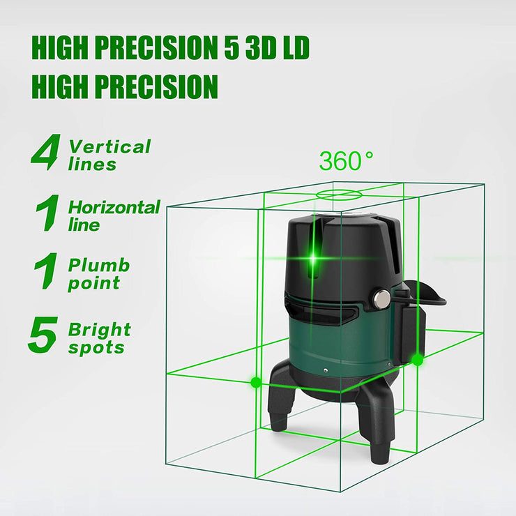 SUNCOO Line Laser Level Tool, Self-Leveling Green Beam Laser Level with Horizontal and Vertical Line