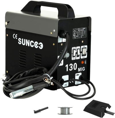 SUNCOO 130 MIG Welder AC Flux Core Wire Automatic Feed Gasless Welding Machine 110 Volt Black
