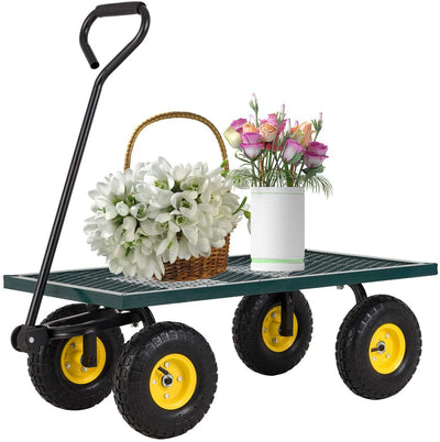 SUNCOO Outdoor Steel Crate Flat Wagon Garden Cart  660 lbs Capacity