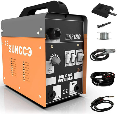 SUNCOO MIG 130 Welder AC Flux Core Wire Automatic Feed Welding Machine No Gas 110 Volt Yellow