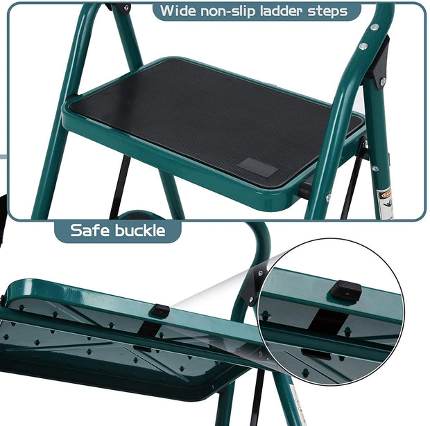 2 Step Ladder, Folding Step Stool w/Wide Steps, Non-Slip Rubber Feet, 330lbs Load Sturdy Steel Ladders