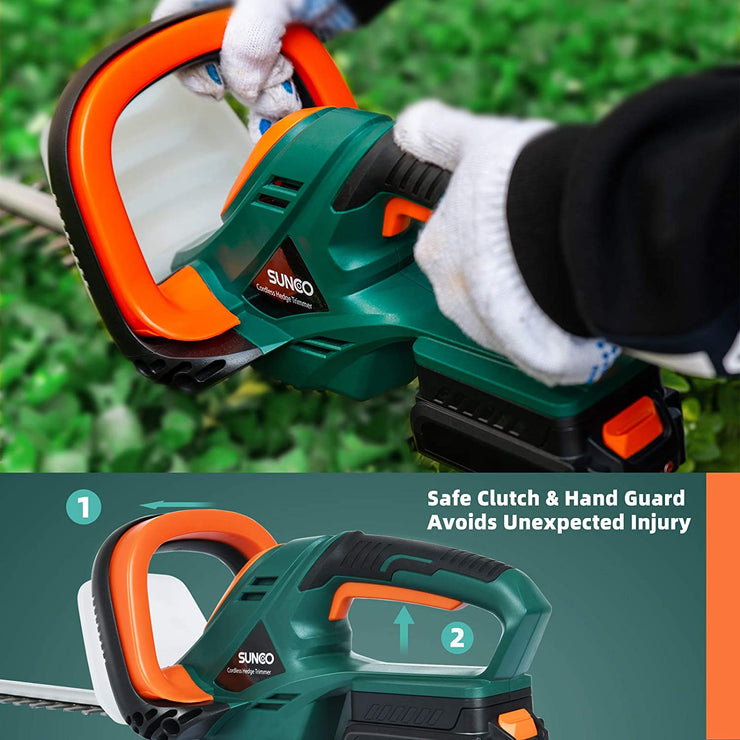SUNCOO 20V Cordless Hedge Trimmer, 22-Inch Battery Powered Trimming Kit