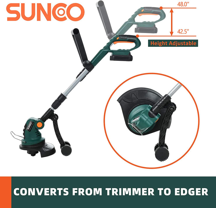 SUNCOO 9.4-Inch Cordless String Trimmer Edger