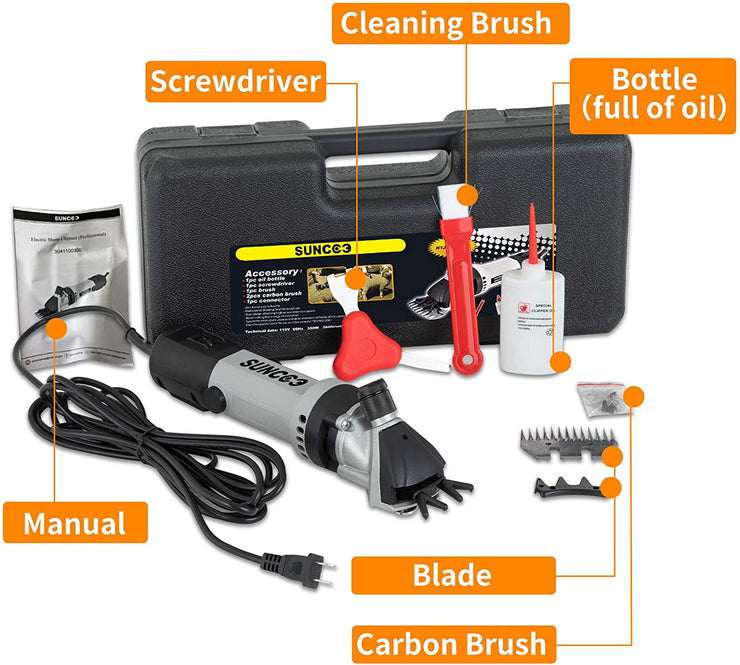 SUNCOO Portable Sheep Shears 6 Speeds Adjustable Alpaca Electric Clippers 350W Professional Shearing Trimmer
