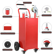 35 Gallon Gas Caddy with Pump, Heavy Duty Portable Fuel Tank with Wheels (Red)