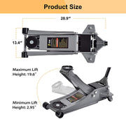 3 Ton Floor Jack Stands Heavy Duty Quick Lift Ultra Low Profile Jack Fast Lift Service Jack for Cars Trucks & SUVs, Grey