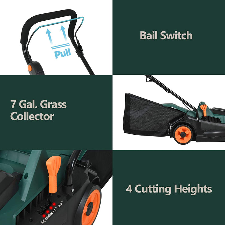 SUNCOO 40V Lawn Mower Battery Powered, 13-Inch Cordless Rotary Mowers
