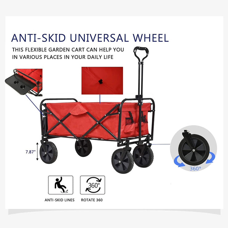 SUNCOO Portable Collapsible Folding Outdoor Utility Wagon Cart with Cup Holders, Red