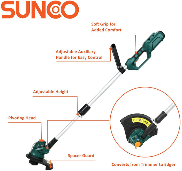 SUNCOO 12-Inch Cordless String Trimmer Edger