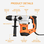 SUNCOO SDS-Plus Rotary Hammer Drill, 13.2 Amp Demolition Hammer Safety Clutch and Vibration Control