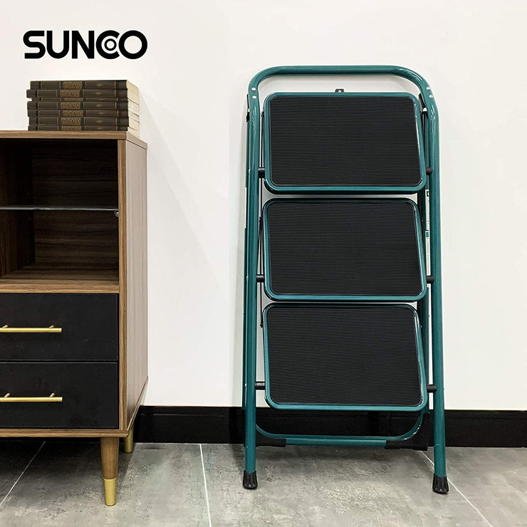 SUNCOO 3 Step Ladder, Folding Step Stool with Wide Anti-Slip Pedal
