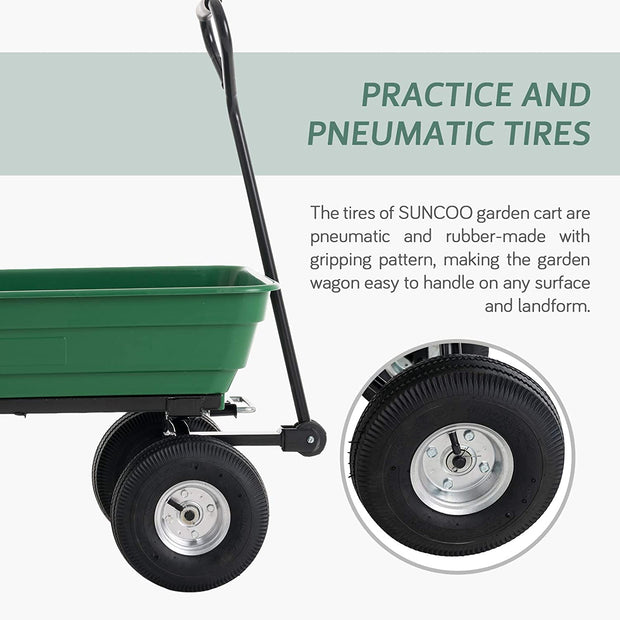 SUNCOO Poly Garden Dump Cart with Steel Frame and 10-inch Pneumatic Tires,600-Pound Heavy-Duty Wheel Barrow,Yard Wagon Carrier,Green
