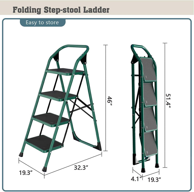 SUNCOO 4 Step Ladder, Folding Step Stool w/Non-Slip Rubber Feet