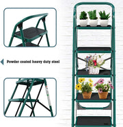 5 Step Ladder, Folding Step Stool w/Non-Slip Rubber Feet