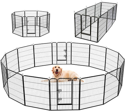 SUNCOO Dog Pen, 8/16 Panels 24/32/40 in Heavy Duty Folding Large Metal Dog Fence
