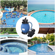 SUNCOO Pro Krystal Clear Sand Filter Pump 2450GPH 13 Inch Tank for 10000GAL Above Ground Pools Swimming Pool Pump