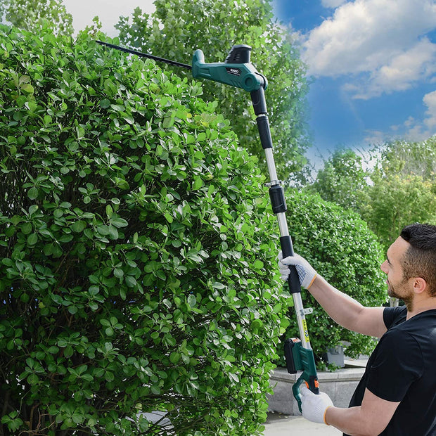 SUNCOO Cordless Pole Hedge Trimmer, 20-inch Battery-Powered Telescoping Trimmers