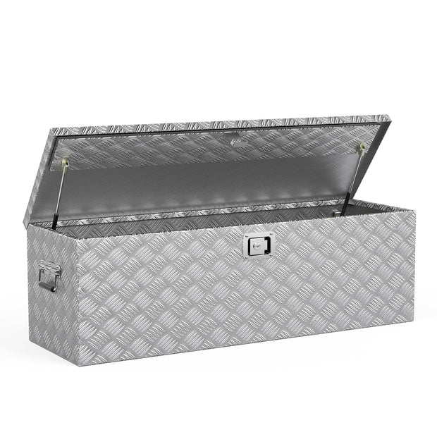SUNCOO 50 Inch Aluminum Truck Tool Box,Heavy Duty Saddle Box,Truck Bed Trailer Storage Organizer,Lock w/ 2 Keys,Silver