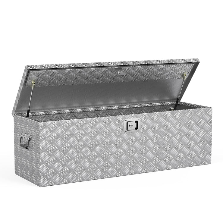 SUNCOO 49 Inch Aluminum Truck Tool Box,Heavy Duty Saddle Box,Truck Bed Trailer Storage Organizer,Lock w/ 2 Keys,Silver