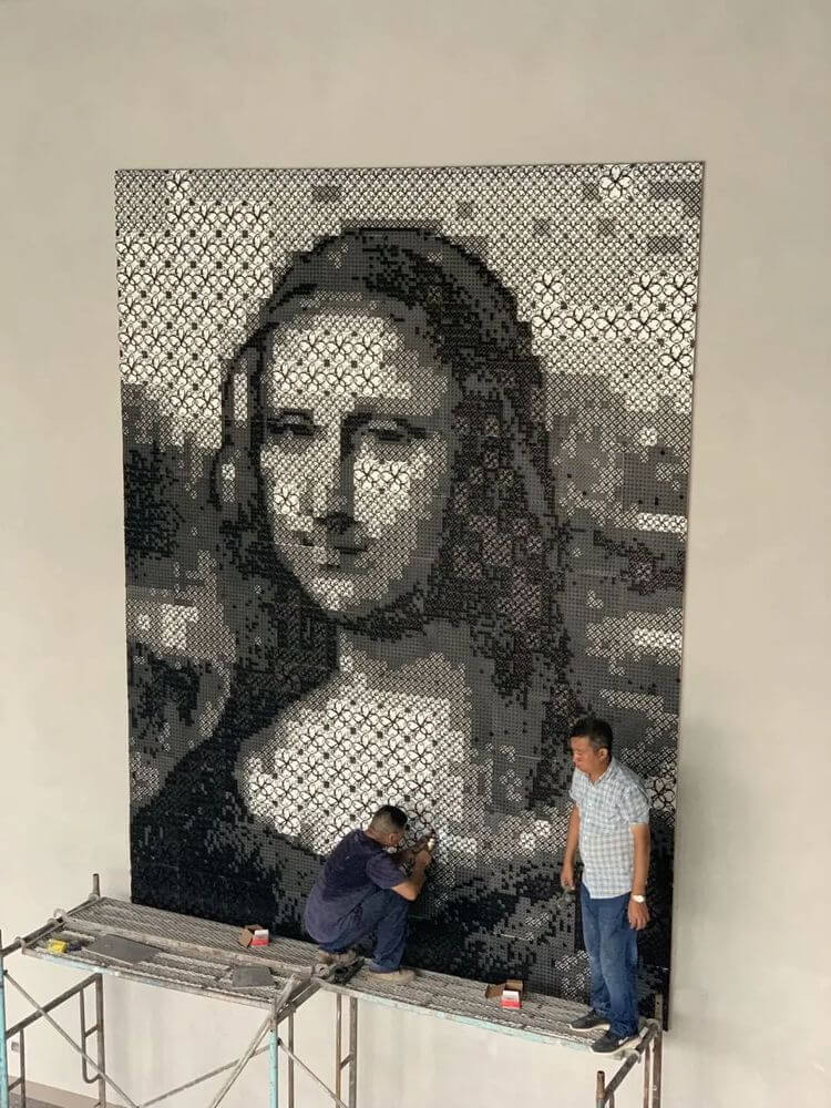 Collision Between 3D Printing Technology and Art  Mona Lisa's Largest 3D Printing Pixel Painting on Display in Shanghai-02
