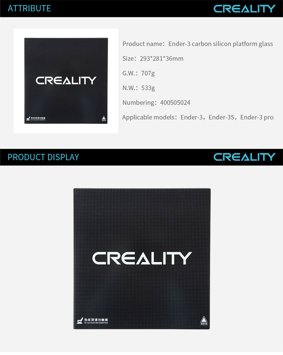 creality-3d-printer-Ender-3-Carbon-Silicon-Platform-Glass-11