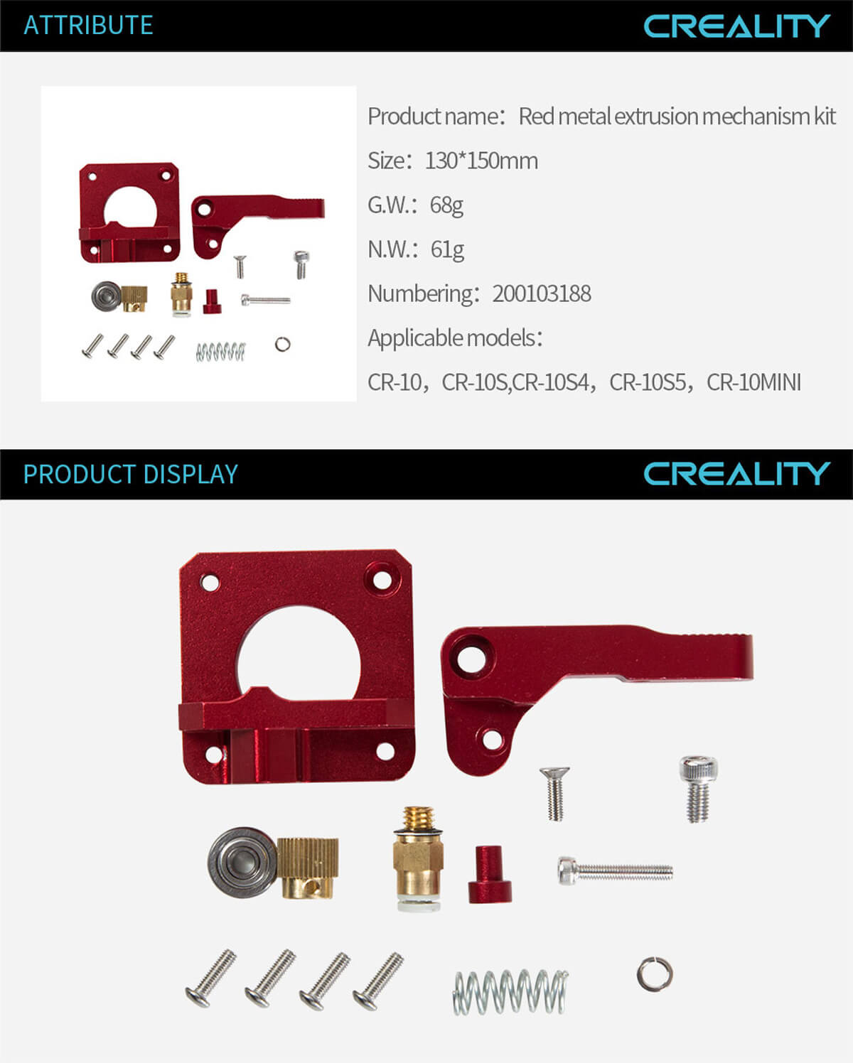 creality-3d-printer-Red-Metal-Extrusion-Mechanism-Kit-11