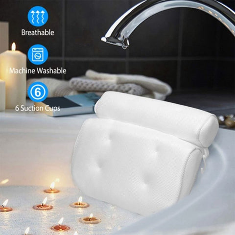 Image of 3D Mesh Fabric Anti-Slip Suction Cup Bathtub Pillow & Cushion Headrest