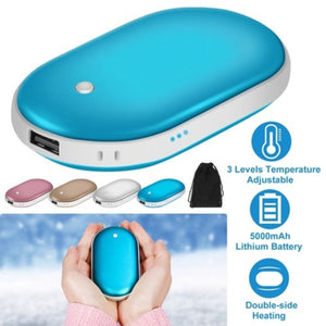 Portable Hand and Pocket Warmer  Rechargeable 5000mAh Power Bank  2 Sides