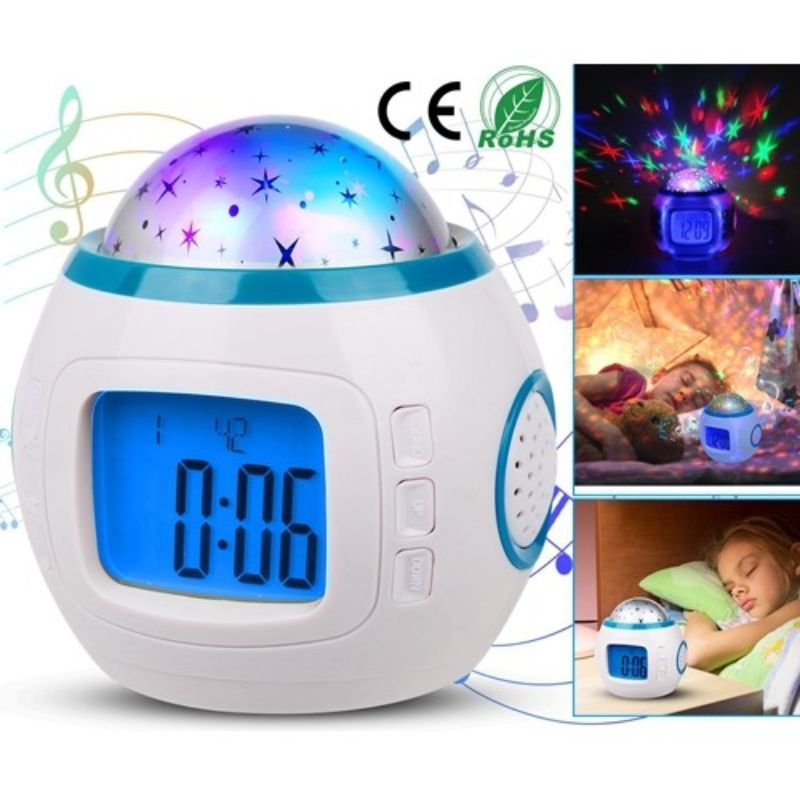Starry Night Projection LED Alarm Clock with 10 Pre-Programmed Songs