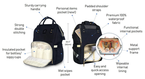 The Diapery Multi-Function Waterproof fashionable Diaper Bag Backpack