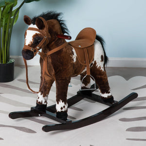 Kids Toy Rocking Horse Wood Plush Pony Traditional Gift w/Neigh Sound